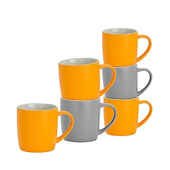 6 Piece Matt Tea and Coffee Mug Set - Modern Style Porcelain Cappuccino Latte Mugs - Grey + Yellow - 350ml