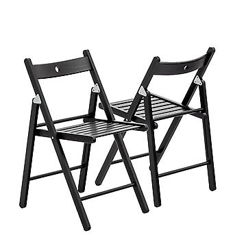 Wooden Folding Chairs - Black Wood Colour - Pack of 6