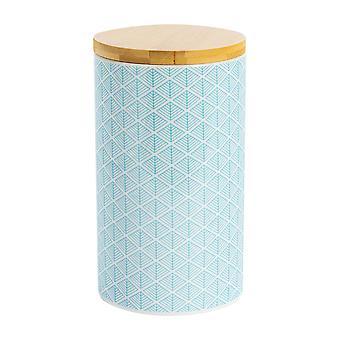 نيكولا الربيع هندسية منقوشة الشاي السكر علبة - مطبخ الخزف الصغيرة التخزين - الأزرق الكهربائي - 10cm