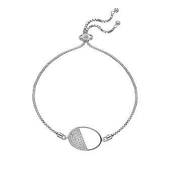Hot Diamonds Sterling Silver Horizon White Topaz Bracelet ovale DL602
