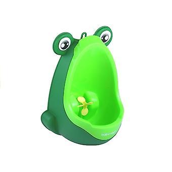Mini Urinoir Kikker Op De Groene Zuignap Van Een Jongen
