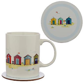 Porcelain Mug and Coaster Gift Set - Portside Seaside X 1 Pack