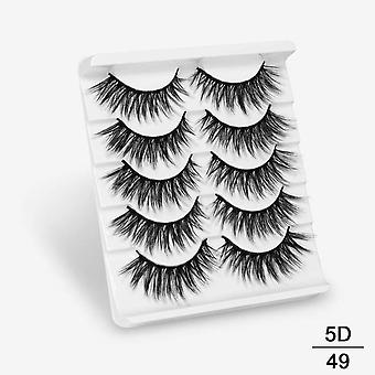 5pairs 3d Mink Hair False Eyelashes - Natural / Thick Long, Wispy Makeup Beauty