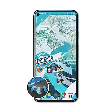 atFoliX 3x Suojakalvo yhteensopiva Google Pixel 5 Casefit Screen Protector selkeä &joustava