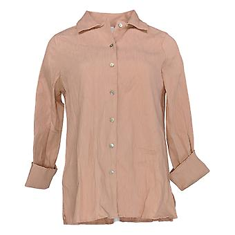 Marlawynne Women's Top Pink Tunic Button-Up Cotton Long Sleeve 636-981