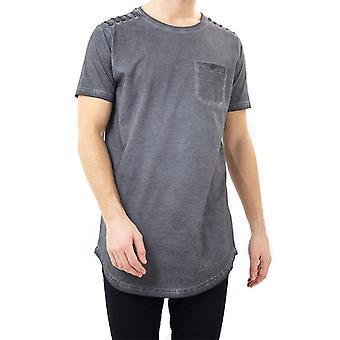 Brave Soul Busted Lång Acid Washed T-shirt