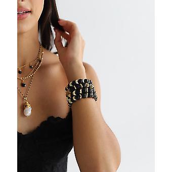 Black Onyx Semi Precious Stone con bracciale disco d'oro