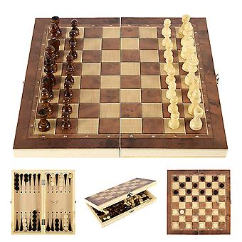 3 IN 1 Wooden International Chess Set Backgammon Board Games Checkers Puzzle Game Folding Chessboard