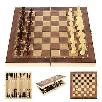 3 IN 1 Holz International Schach Set Backgammon Brett Spiele Checkers Puzzle Spiel Falten Schachbrett