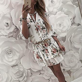Women's Wrap Summer V-neck Floral Print Dress