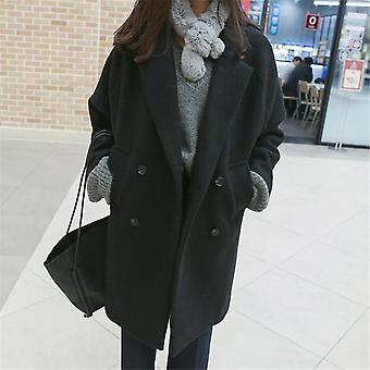 Winter Fashion Women Wool Blends Loose Double Breasted Coat Casual Elegant