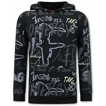 Hooded Sweater - Graffiti Hoodie - Black