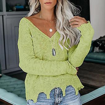 V-hals Solid Casual langærmet flosset sweater