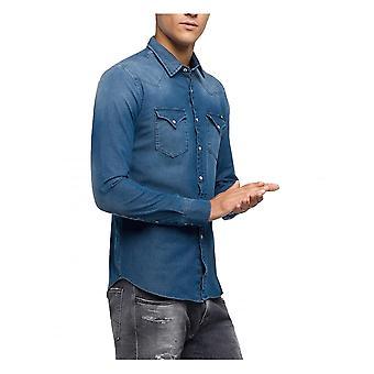 Replay Jeans Replay Men's Hyperflex Denim Shirt Long Sleeve Blue