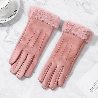 Mănuși pentru femei, ecran tactil de iarnă, blană de femeie caldă, mănușă cu degetul complet