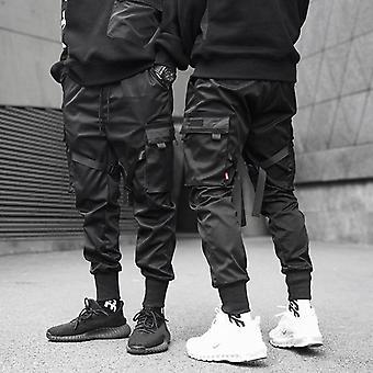 Men Ribbons Pocket Cargo Pants, Sweatpant Hip Hop Trousers