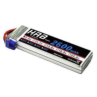 Lipo batería hrb 2s 7.4v 30c 2600mah con conector de batería ec2 rc para rc helicóptero rc avión rc hobby rc fpv rc drone
