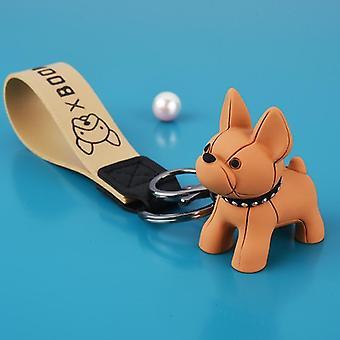 Punk French Bulldog Keychain, Pu Leather Dog Keychains