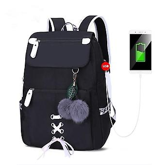 Fashion School Backpack Usb Bags, Plush Ball Butterfly, Decoration Bags