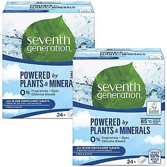 2pk Zevende Generatie All-in-1 Gratis en heldere vaatwassertabletten, 48 tablets