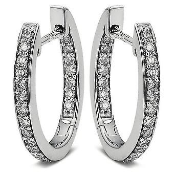الماس الكريول طوق الأقراط - 18K 750/- الذهب الأبيض - 0.48 قيراط.
