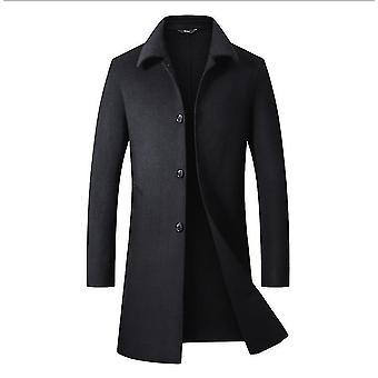 Men 's Woolen Pea Single Breasted Winter Trench Jacket