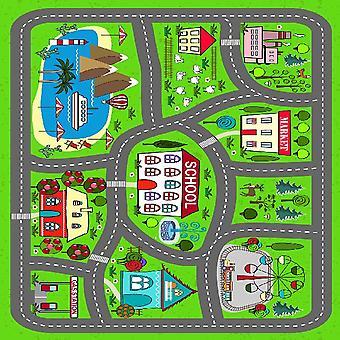 Smurfen stad veelkleurig bedrukt tapijt in polyester, katoen, L100xP150 cm