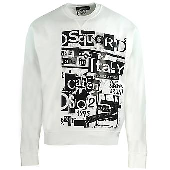 Dsquared2 Punk Brothers Print White Sweater