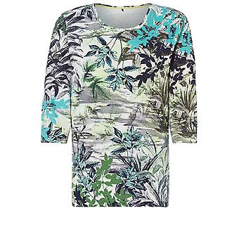 Olsen Pistachio Tropical Design Top