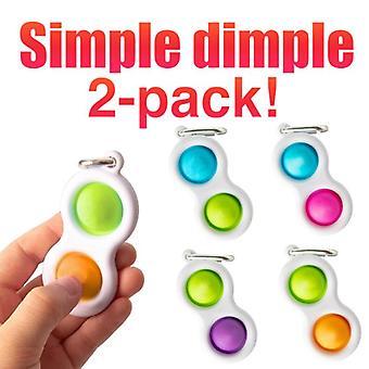 2kpl Yksinkertainen hymykuoppa, MINI Pop it Fidget Sormi lelu / Lelu CE
