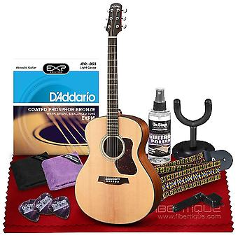 Walden g550e natura grand auditorium acoustic-electric guitar with armrest, solid spruce top, rosewood fingerboard  bundle includes gig ps02759