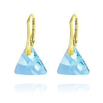 24K kullattu akvamariini kolmio korvakorut swarovski kristalli