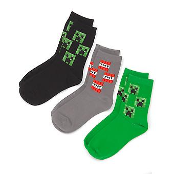 Minecraft Socks For Kids | Boys Creeper Face TNT Assorted 3 Pack Grey Green Black | Video Game Merchandise