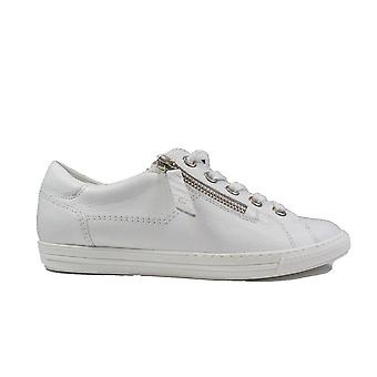 Paul Green 4940-00 White Leather Womens Zip/Lace Up Trainers