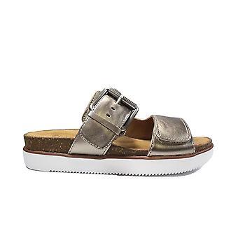 Clarks Elayne Ease Gold Metallic Leather Womens Mule Sandals