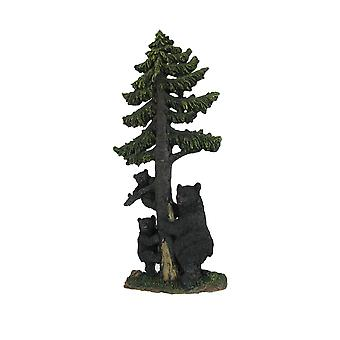 Black Bear Family Climbing Spruce Tree Hand Painted Wall Sculpture 16 Inches High