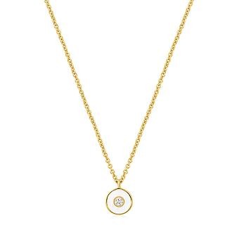 Ania Haie Optic White Enamel Disc Gold Necklace N028-01G-W