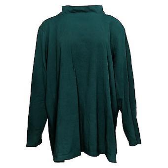 Denim & Co. Women's Top Plus Jersey Mock Neck Long Sleeve Green A389884