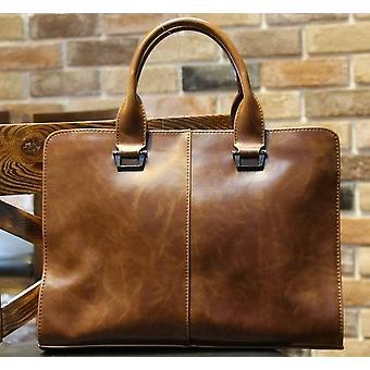 Män portfölj nya mjuka läder handväskor män & s casual väska axel budbärare väska crossbody väskor man laptop datorfodral 13