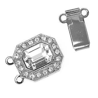 Filigree Box Clasps, with Swarovski Crystals 22x12mm, 1 Piece, Rhodium Plated