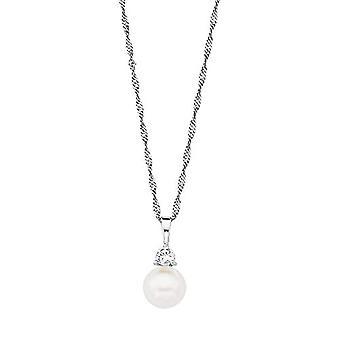 Liebe Damen Halskette 45 cm mit 925 Silber Anhänger mit Zirkonen weiße Süßwasserperle