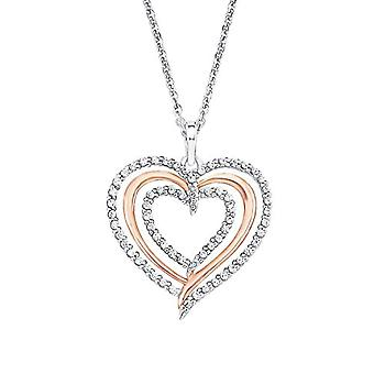 Amor Women's necklace with heart-shaped pendant in sterling 925 silver two-tone NOTEBOOK-in rose gold, with white zircons Ref. 4020689222971