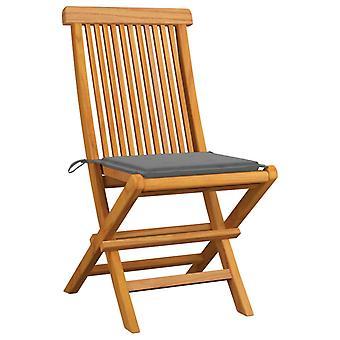 vidaXL sillas de jardín con cojines grises 4 piezas de madera maciza de teca