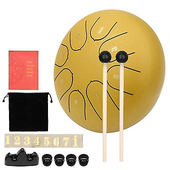 Muslady 8 notes c-key 6-inch mini steel tongue drum hand pan drum percussion instrument with drumsticks steel drum kit