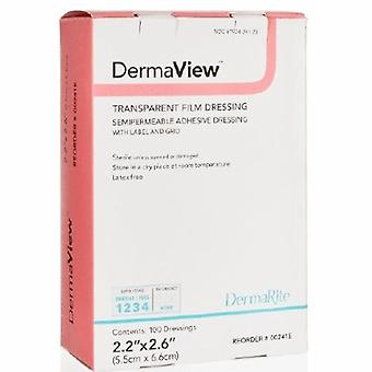DermaRite Transparent Film Dressing DermaView Roll 4 Inch X 11 Yard 2 Tab Delivery With Label Sterile, 1 Each