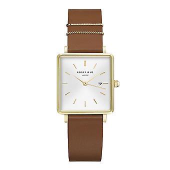 Reloj Rosefield QSCG-Q029 - Bo tier m tal oro esfera blanca brillante con correa de cuero marrón dator oro de anillos de mujer