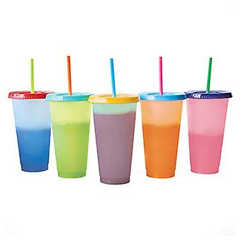 710ml With Straws Cold Water Color Changing Coffee Cup