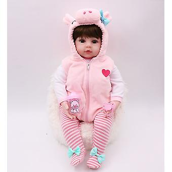 Premie baby size 48cm full body silicone pink pig dress set bebe doll reborn doll water proof bath doll toy christmas gfit