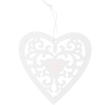 9cm White Filigree Hanging Heart for Wedding Crafts and Decoration