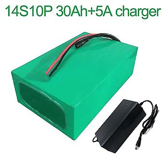 Battery With Charger 5a 30ah 52v Li-ion 18650 Rechargeable Electric Two Electric Three Wheel Motorcycle Accept Customization 14s10p 270 * 195 * 70mm